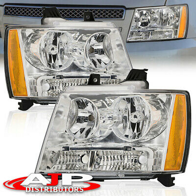 Chrome Amber Driving Headlight Lamp For 2007-2014 Chevy Suburban Tahoe Avalanche