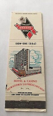 Vintage Matchbook Cover Matchcover Four Queens Hotel Casino Las Vegas NV