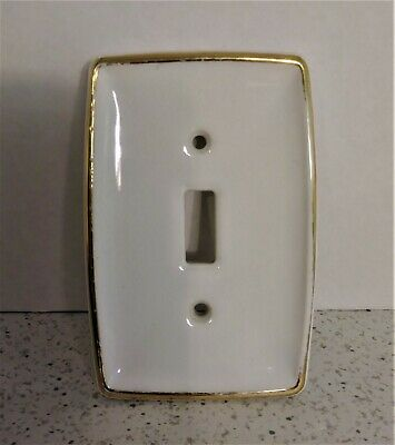 Vintage Shabby Porcelain Electric Single Switch Plate Cover Off  White Gold Trim