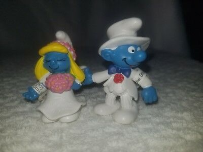 Smurfette Bride /& Groom Wedding Cake Topper Smurf Figure 20796//20797 NEW Grey