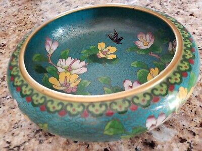 """Chinese Vintage tuquoise color Floral / BIRD Cloisonne' Bowl Approx. 8.5 x 2.75"""""""