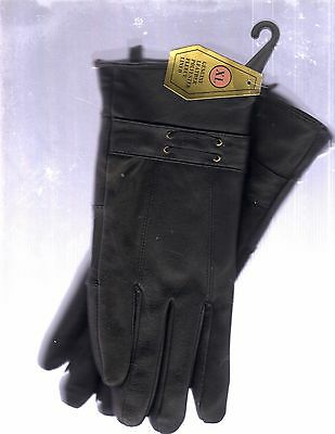 New Ladies Black Leather Gloves (Size Xl/Lined/Wrist Detail)