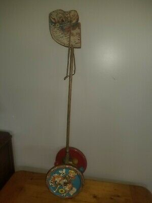 VINTAGE Metal & Wood Hobby Horse Chime GONG BELL MFG CO Cowboy  Toy 1950s USA