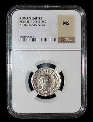 NGC MS Roman Empire Philip II, AD 247-249 Silver Double-Denarius K10027