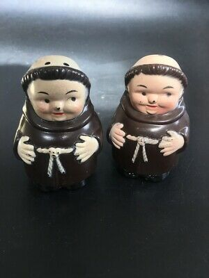 VINTAGE Friar Tuck Salt and Pepper Shakers - Plastic - Hong Kong