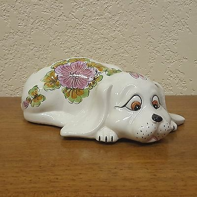 Vintage Ceramic Hand Painted Floral Puppy Dog Coin Bank - Italy
