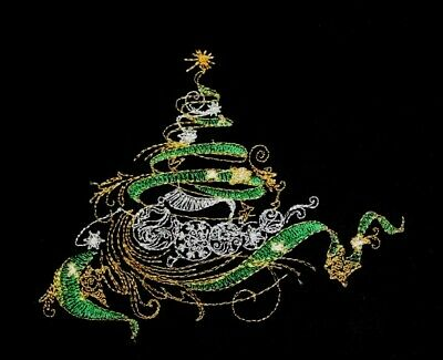 Christmas Tree EMBROIDERED QUILT BLOCK Beautiful