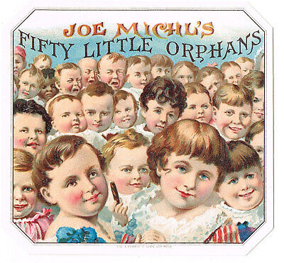 Genuine Cigar Box Label Vintage C1900 Fifty Little Orphans Chromolithography