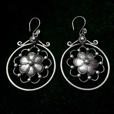 Personalty Chinese exotic tribal retro handmade miao silver flower earring 1pair