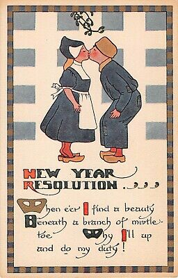 Hy New Year Dutch Snowman With Sheet Music Antique