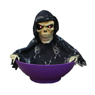 Snapping Sam Grim Reaper Animated Halloween Candy Bowl Hunted House Props