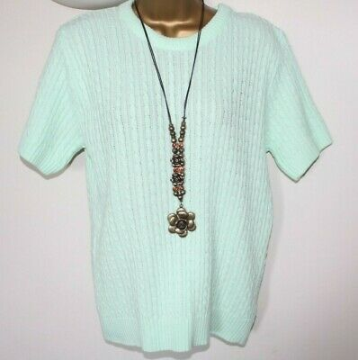 New Ladies Women Jumper 16 Mint Green Short Sleeve Cable Knit Smart Stretch Work