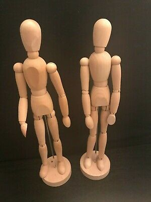 2 Poseable Artist Mannequin Wooden Drawing Figure Doll Statue Flexible Tall 13""