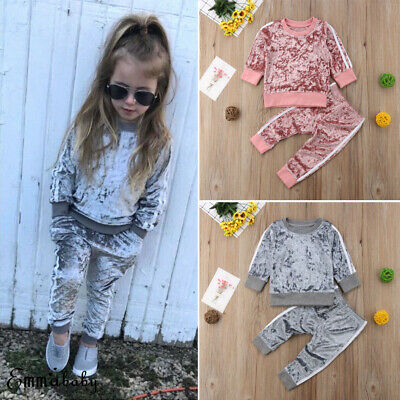 2pcs Toddler Kids Clothes Boy Girl Gold Velvet Suit Sweater Pants Baby Tracksuit