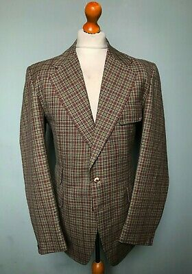Vintage 1970's bespoke loud checked suit size 44 long