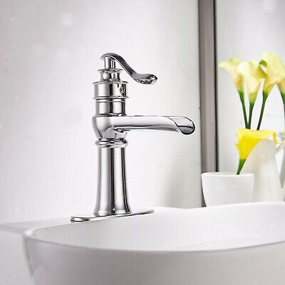 Bathroom Sink Faucet Waterfall Spout Single Handle  Basin Mixer BWE Commercial