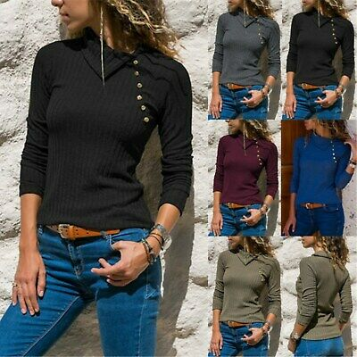 UK Womens Button Collared Rib Knitted T-Shirt Blouse Ladies Pullover Jumper Tops