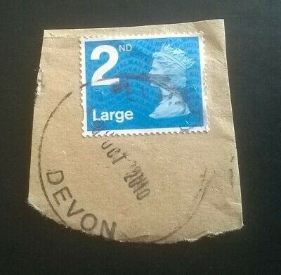 1 Used Gb 2Nd Class Large Security Blue Machin Stamps 2009 Yblm - Postmark