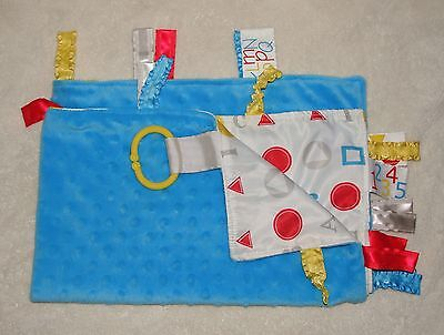Baby Jack Blue Minky Dot Tag Security Blanket ABC's Shapes Clip on Lovey