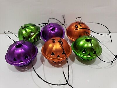 Halloween Pumpkin Orange Green Mini Bell Tree Ornaments Decor Set of 6