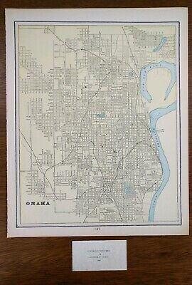 "OMAHA NEBRASKA 1900 Vintage Atlas Map 14""x11"" Old Antique GRETNA LA VISTA"