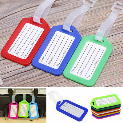 10 Travel Luggage Bag Tag Plastic Suitcase Baggage Office Name Address ID Labels
