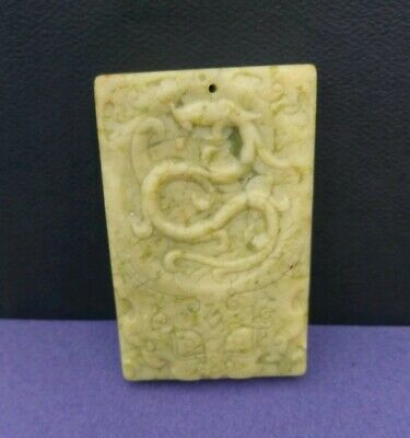 Chinese Old Natural Jade Hand Carved Dragon Pendant