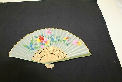 Vintage c.1947 - 1952 Hand Fan Bamboo Linen Floral Hand Painted Occupied Japan