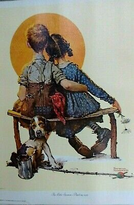 "Vintage 1972 Art Print Lithograph Norman Rockwell  Canvas ""THE LITTLE SPOONERS"""