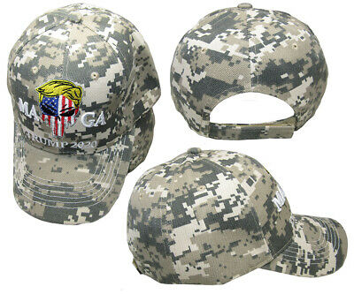 MAGA Trump 2020 USA Demon Punisher Skull ACU Digital Camo Embroidered Hat Cap