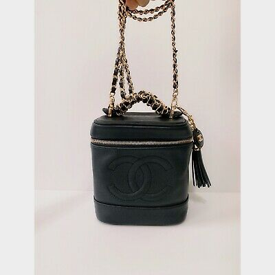 😍🌹Authentic CHANEL CC Logo VINTAGE Cosmetic Vanity Black CAVIAR Leather Bag!