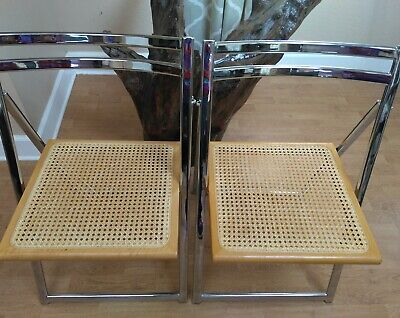 Vintage Pair 2 Matching WOOD And Metal FOLDING Chairs Used