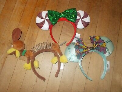 DISNEY PARKS Mixed Lot of 3 Minnie Mouse Multi-Color Ear Headbands
