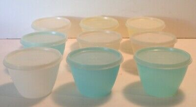 Set Of 9 Vintage Tupperware Pastel Snack Dessert Fruit Bowls With Lids