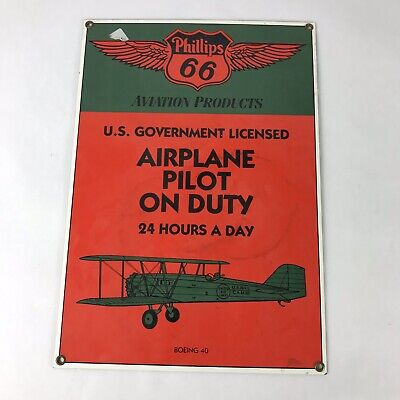 """Phillips 66 """"Airplane Pilot On Duty"""" Embossed Metal Sign Aviation Boeing"""