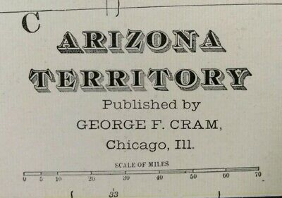 "Vintage 1902 ARIZONA TERRITORY Atlas Map 14""x22"" ~ Old Antique Original PHOENIX"