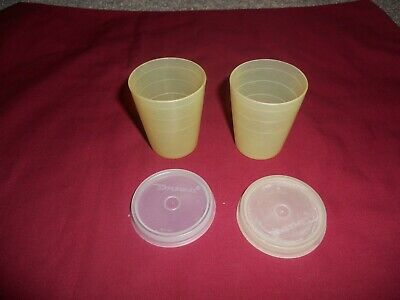 Vintage TUPPERWARE mini MIDGET 2 OZ Containers yellow with lids