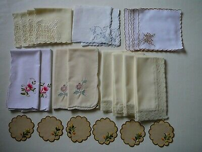 Asst Lot 14 Embroidered/Lace Table Linen Napkins &12Embroidered Coasters/Doilies