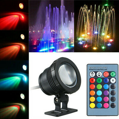 AC/DC 12V 10W RGB LED Underwater Light Submersible Lamp with Remote Control I4V3