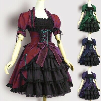 Gothic Womens Vintage Dress Girls Lolita Sweet Puff Balloon Sleeve Cosplay Dress