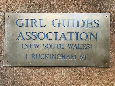Original Girl Guides Association Building Sign (Brass)  - Sydney NSW - RARE
