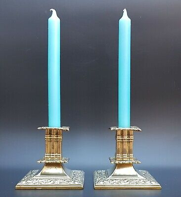Exceptional Pair Of 19th Century Brass Hollywood Regency Style Candlesticks