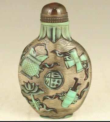 Asian rare old glaze Handcarved flower statue snuff bottle decoration gift