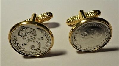 Pair Genuine High Quality Antique .925 Silver Threepence Gold Plated Cufflinks