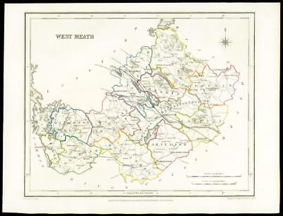 IRELAND 1845 - Original Antique Map of WEST MEATH by Lewis & Co