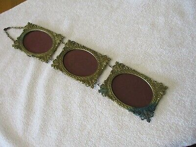 Vintage/ Antique  Brass Trio Of Chain/ Wall Hanging Photo/ Picture Frames