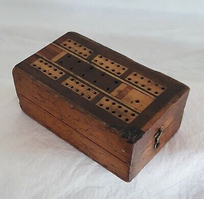 Hardwood cribbage box inlaid with assorted wood pegging beds. 1930's approx.