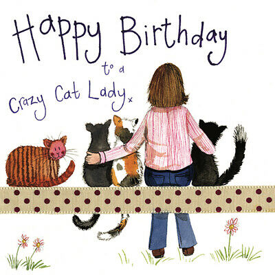 Alex Clark Crazy Cat Lady Birthday Greeting Card Glitter & Sparkle Greetings