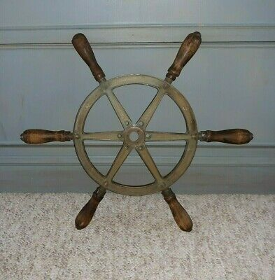 Authentic Antique Bronze Nautical Ship or Yacht Wheel