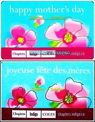 2x CHAPTERS INDIGO COLES HAPPY MOTHER'S DAY ENG/FR COLLECTIBLE GIFT CARD SET LOT